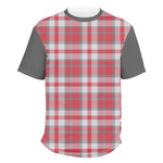 Red & Gray Plaid Men's Crew T-Shirt (Personalized)