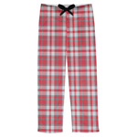 Red & Gray Plaid Mens Pajama Pants (Personalized)