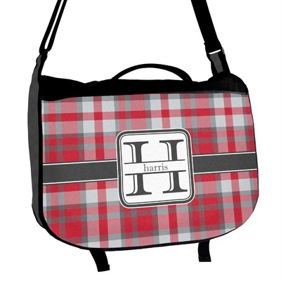 Red & Gray Plaid Messenger Bag (Personalized)