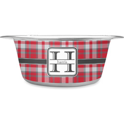 Red & Gray Plaid Stainless Steel Dog Bowl (Personalized)