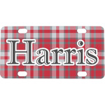 Red & Gray Plaid Mini / Bicycle License Plate (Personalized)