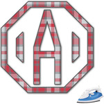 Red & Gray Plaid Monogram Iron On Transfer (Personalized)