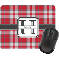 Red & Gray Plaid Mouse Pad (Personalized)