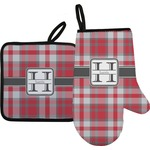 Red & Gray Plaid Oven Mitt & Pot Holder (Personalized)