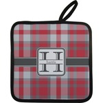 Red & Gray Plaid Pot Holder w/ Name and Initial