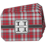 Red & Gray Plaid Dining Table Mat - Octagon w/ Name and Initial