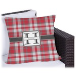 Red & Gray Plaid Outdoor Pillow (Personalized)