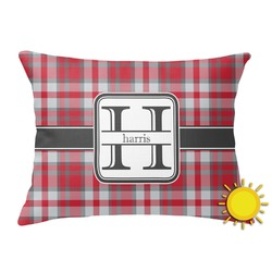 Red & Gray Plaid Outdoor Throw Pillow (Rectangular) (Personalized)