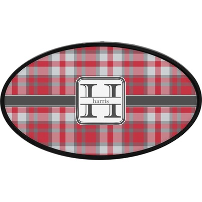 Red & Gray Plaid Oval Trailer Hitch Cover (Personalized)