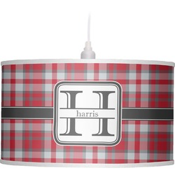 Red & Gray Plaid Drum Pendant Lamp (Personalized)
