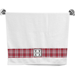 Red & Gray Plaid Bath Towel (Personalized)