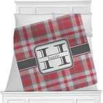 Red & Gray Plaid Minky Blanket (Personalized)