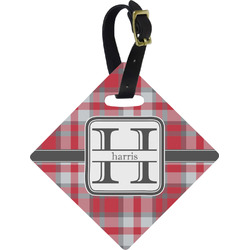 Red & Gray Plaid Diamond Luggage Tag (Personalized)