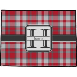 "Red & Gray Plaid Door Mat - 60""x36"" (Personalized)"