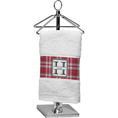 Red & Gray Plaid Finger Tip Towel (Personalized)