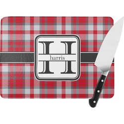 Red & Gray Plaid Rectangular Glass Cutting Board (Personalized)