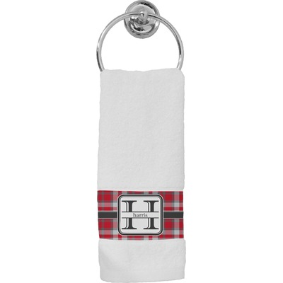 Red & Gray Plaid Hand Towel (Personalized)