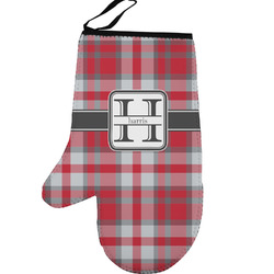 Red & Gray Plaid Left Oven Mitt (Personalized)
