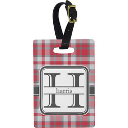 Red & Gray Plaid Rectangular Luggage Tag (Personalized)