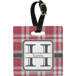 Red & Gray Plaid Square Luggage Tag (Personalized)