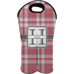 Red & Gray Plaid Wine Tote Bag (2 Bottles) (Personalized)