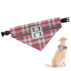 Red & Gray Plaid Dog Bandana - Large (Personalized)