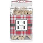 Red & Gray Plaid Dog Treat Jar (Personalized)