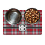 Red & Gray Plaid Dog Food Mat (Personalized)