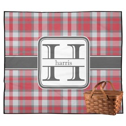 Red & Gray Plaid Outdoor Picnic Blanket (Personalized)