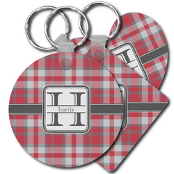 Red & Gray Plaid Plastic Keychains (Personalized)