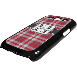 Red & Gray Plaid Plastic Samsung Galaxy 3 Phone Case (Personalized)