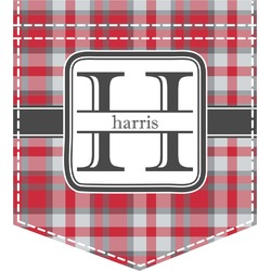 Red & Gray Plaid Iron On Faux Pocket (Personalized)