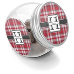 Red & Gray Plaid Puppy Treat Jar (Personalized)