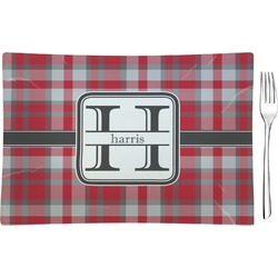 Red & Gray Plaid Glass Rectangular Appetizer / Dessert Plate - Single or Set (Personalized)