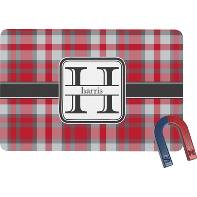 Red & Gray Plaid Rectangular Fridge Magnet (Personalized)