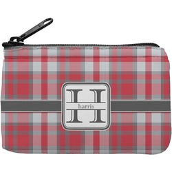 Red & Gray Plaid Rectangular Coin Purse (Personalized)