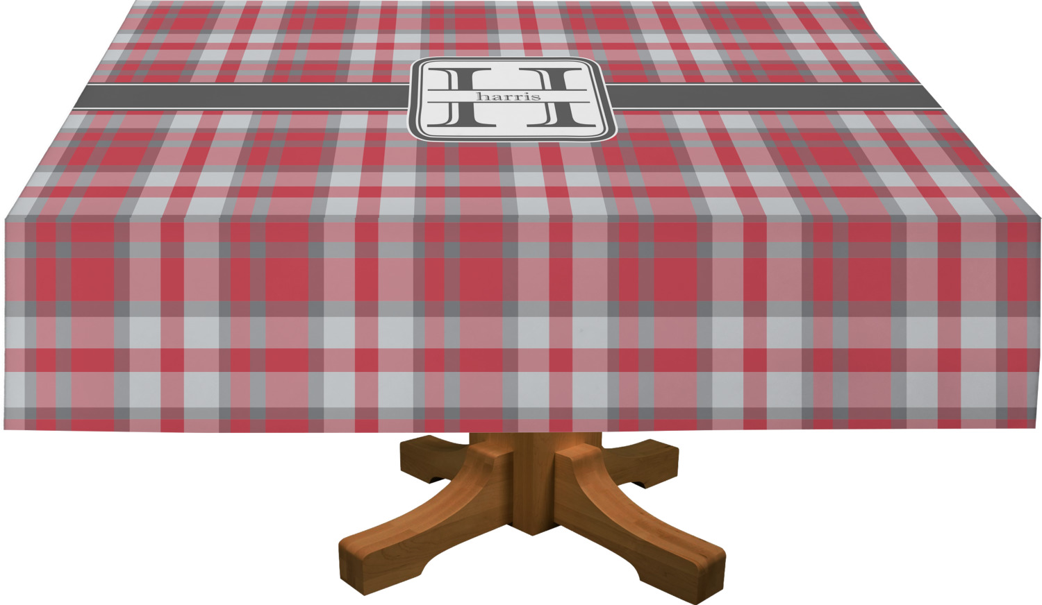 Red U0026 Gray Plaid Rectangle Tablecloth (Personalized)