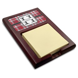 Red & Gray Plaid Red Mahogany Sticky Note Holder (Personalized)