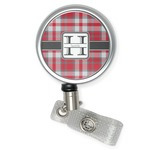 Red & Gray Plaid Retractable Badge Reel (Personalized)