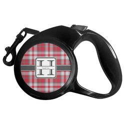 Red & Gray Plaid Retractable Dog Leash (Personalized)