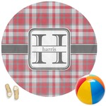 Red & Gray Plaid Round Beach Towel (Personalized)