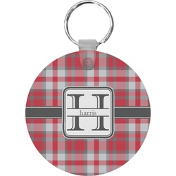 Red & Gray Plaid Round Keychain (Personalized)