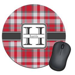 Red & Gray Plaid Round Mouse Pad (Personalized)