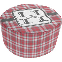 Red & Gray Plaid Round Pouf Ottoman (Personalized)