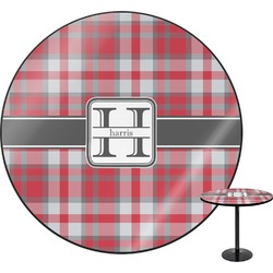 Red & Gray Plaid Round Table (Personalized)