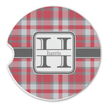 Red & Gray Plaid Sandstone Car Coasters (Personalized)