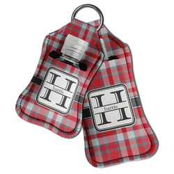 Red & Gray Plaid Hand Sanitizer & Keychain Holder (Personalized)