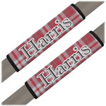 Red & Gray Plaid Seat Belt Covers (Set of 2) (Personalized)