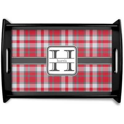 Red & Gray Plaid Wooden Trays (Personalized)