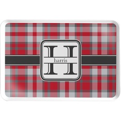 Red & Gray Plaid Serving Tray (Personalized)